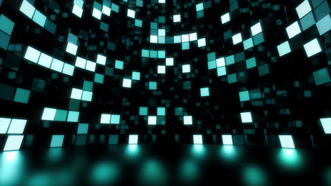 Neon Tiles Light Stage Revolving - Sea Color - Dots Slow Animation