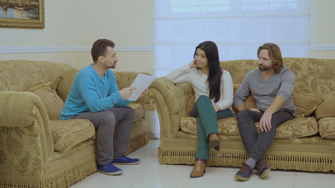 Married couple are talking with psychologist Footage
