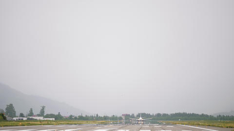 Airplane takes off from the airport in mountains - Georgia 영상물