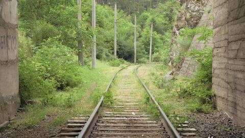 Flying over the railway in tunnel ภาพวิดีโอ