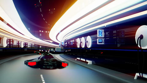 futuristic flying cars with futuristic police in sci fi tunnel. Loopable CG動画素材