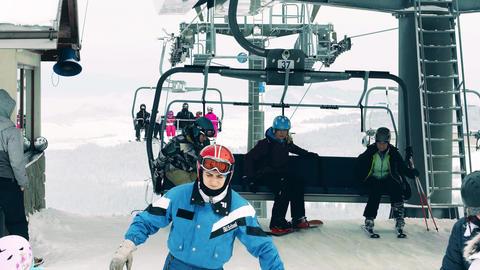 BIALKA TATRZANSKA, POLAND - FEBRUARY 3, 2018. Alpine ski lift or chairlift Footage