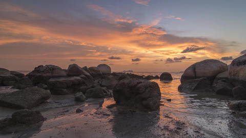 Timelapse magnificent sunset near rock stone Footage