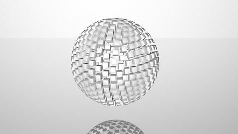 White 3D abstract advanced technology motion background. Revolving sphere formed Animation