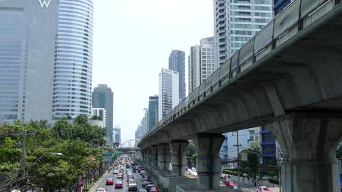 Traffic at Sathon Tai Road and Sathon Nuea Road in Silom Footage