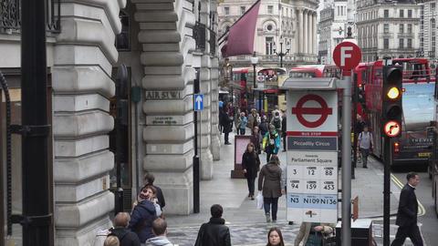 Bus stop at Regent street - LONDON, ENGLAND Stock Video Footage
