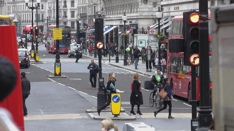 Typical street view in London - LONDON, ENGLAND Live Action