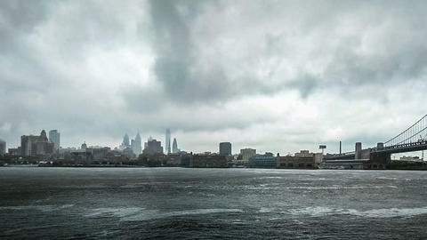 At rainning day,the panoramic view of Benjamin Franklin Bridge, philadelphia Footage