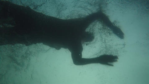 Undrwater Shot Of A Man Swim In The Sea Footage