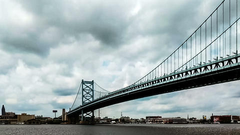 The panoramic view of Benjamin Franklin Bridge, philadelphia Footage