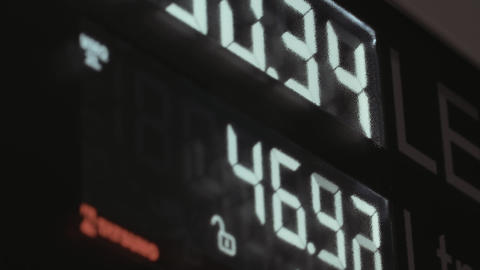 Petrol station display close-up Filmmaterial