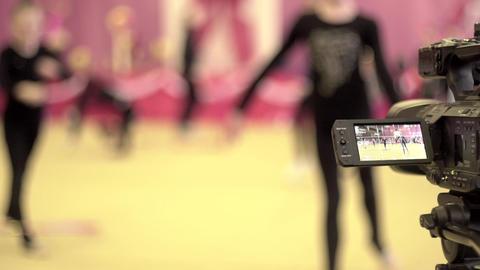 Rhythmic gymnastics, warm-up of athletes 영상물