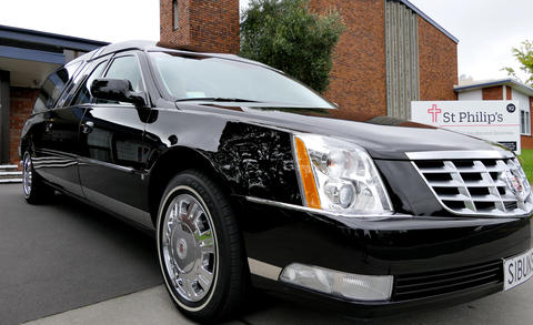 Shot of a hearse for funeral service Photo