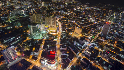 Timelapse busy night traffic at Georgetown from The Top, KOMTAR Footage