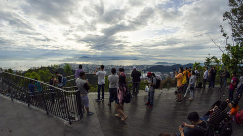 Tourist enjoy panorama view of Penang Hill Live Action