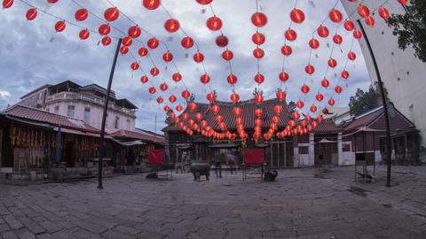 Timelapse of Red lantern of Goddess of Mercy temple Live Action