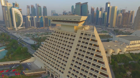 flight over the five-star hotel Sheraton Doha Hotel & Resort in Qatar Live Action