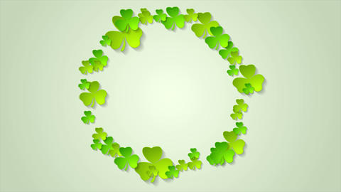 St. Patricks Day green clovers circle video animation Animation