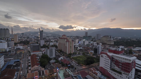 Timelapse day to night shoot of Georgetown city scape with the aerial view Footage