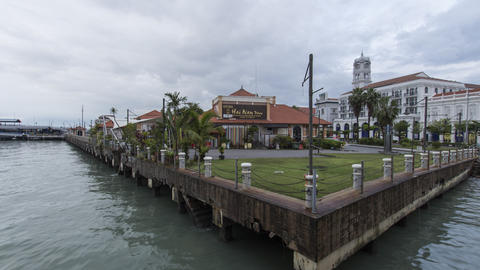 Timelapse of restaurant Hai Nan town and Customs building Footage