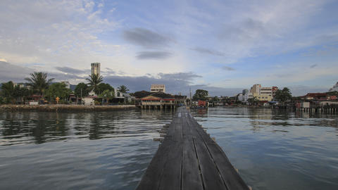 Tan Jetty, made of wooden house and road on the sea Footage