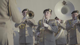 The military band plays music Footage