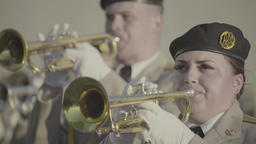 The performance of a military band. A trumpeter plays on the trumpet Footage