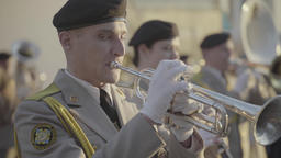 Soldier plays trumpet in military band Footage