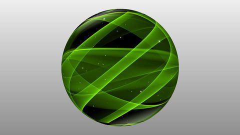 Green textured black glass sphere with small white lights rotating on gray Animation