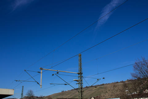 Electric power pillar for trains Foto