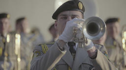 The performance of a military band Footage