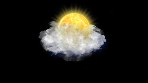 Sun Clouds, Weather Forecast Icon with Alpha Channel Animación