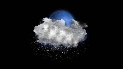 Moon Blizzard, Weather Forecast Icon with Alpha Channel Animación