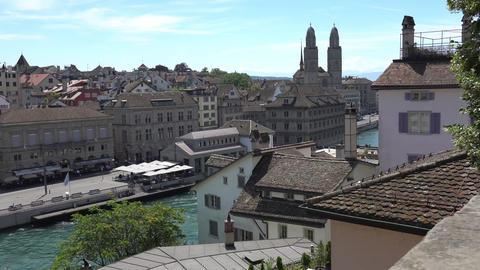 ZURICH, SWITZERLAND - JULY 04, 2017: View of historic Zurich city center, Limmat Footage