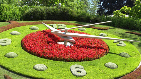 GENEVA, SWITZERLAND : The flower clock in Geneva Footage
