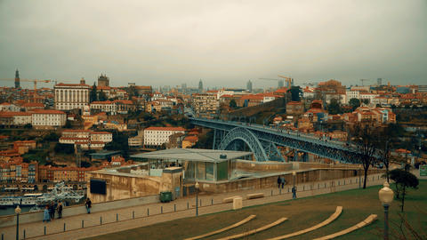 Porto, circa 2018: Panoramic view of the old city of Porto. Portugal. The Metro Footage