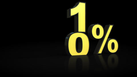 Counting from zero 0 to fourteen 14 % percent 3D animation Footage