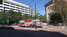 USA Virginia Norfolk fast fire engine in City Hall and Monticello Avenue Footage