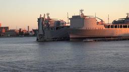 USA Virginia Norfolk shipyards in golden light of sunset Footage