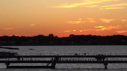 USA Virginia Norfolk shore with jetties after sunset 画像