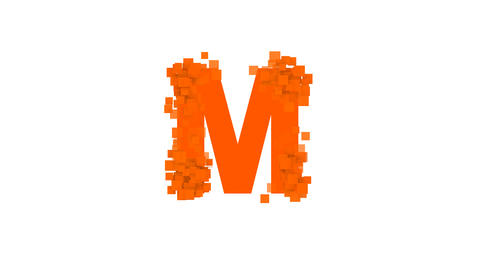 latin letter M from letters of different colors appears behind small squares Animation