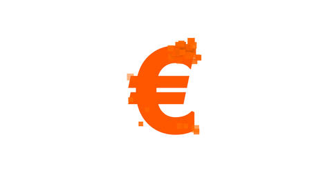 Euro Sign from letters of different colors appears behind small squares. Then Animation