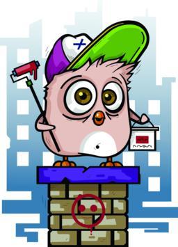Funny Funny Bird Drawing Street Art ベクター