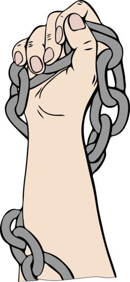right human hand is wrapped in a metal chain and is raised upwar ベクター