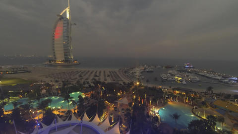 view of the hotel Burj Al Arab (the sail) time-lapse Footage