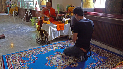 Faithful in the temple in Bangkok Footage