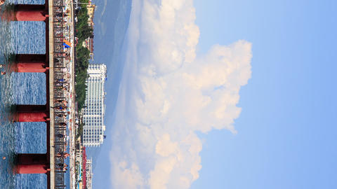 Vertical video. The sea and the mountains. Sochi, Russia Footage