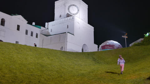 Night view of the Kazan Kremlin. Spassky tower with a clock. Kazan, Russia Footage