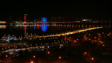 Night general panorama of Kazan from the Kremlin. The river Kazanka. Kazan, Footage