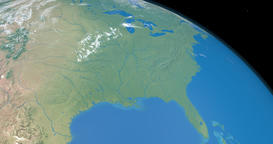 Florida, Mexico gulf and Mississippi river in planet earth Animation